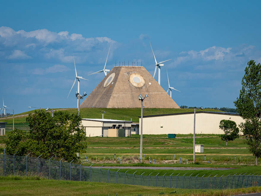 Wind turbines now share the land with the Missile Site Radar facility.