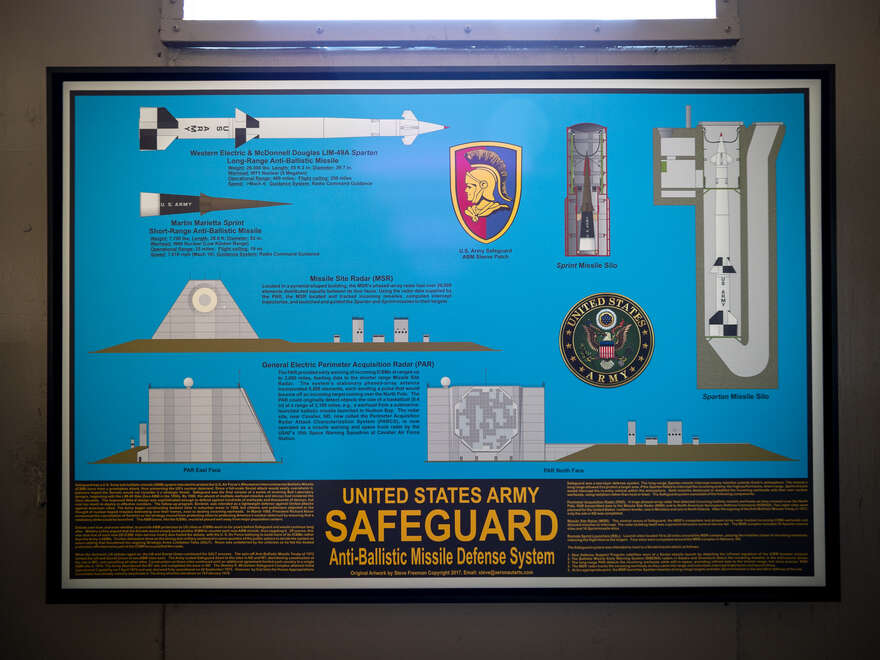 This poster describes the three components of the Safeguard complex: the Perimeter Acquisition Radar, Missile Site Radar, and Sprint missile silos.