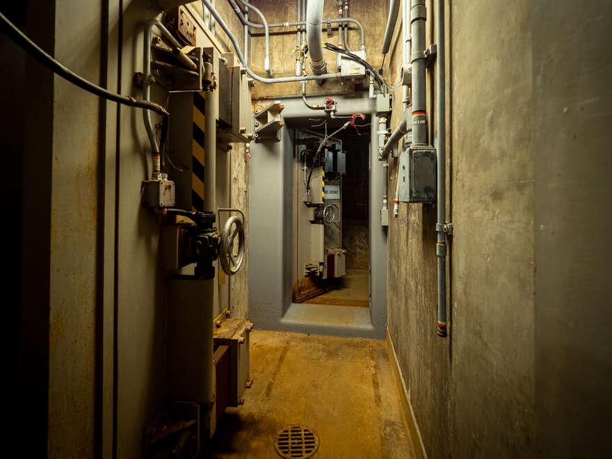 A corridor inside the RSL-3 underground bunker.
