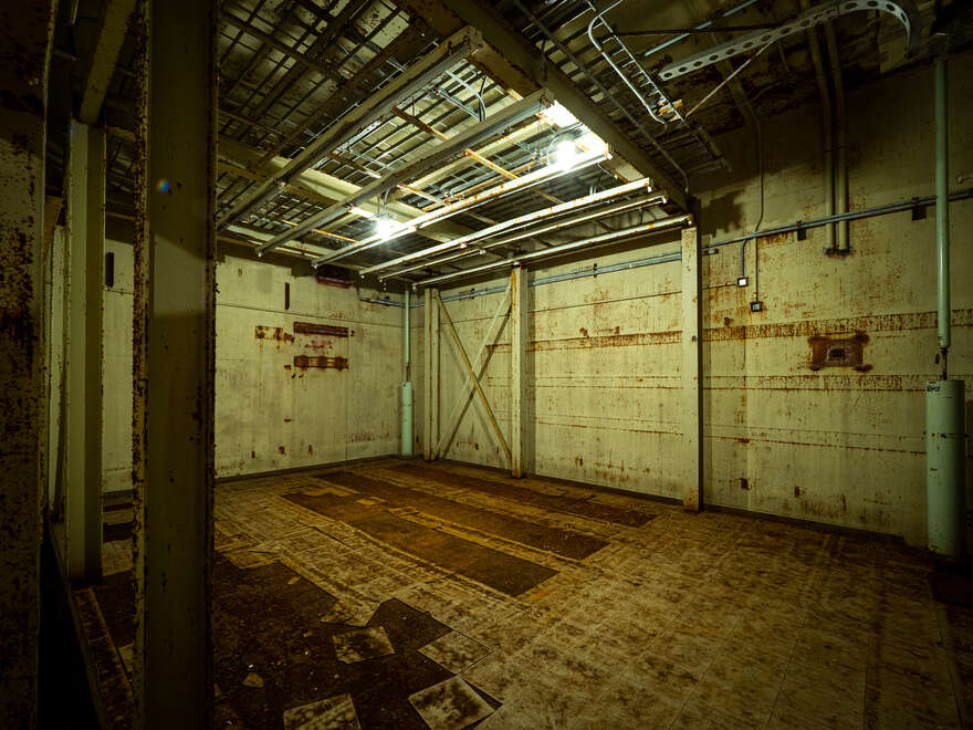 An empty room in the RSL-3 underground bunker. Shock absorbers protect the facility in case of a nearby nuclear detonation.